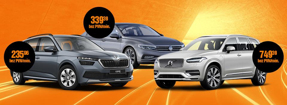 Auto līzings uzņēmumiem - Škoda Kamiq, VW Passat, Volvo XC90